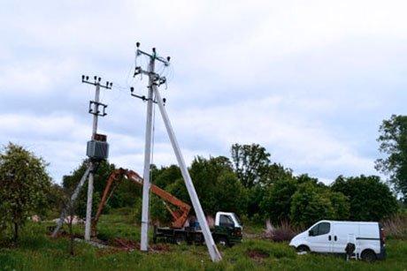 Монтаж столбовой трансформаторной подстанции СТП
